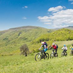 A Group of eight mountainbike friends  is riding across a pasture in the Slovakian Mountains nearby the city of Nove Mesto on a sunny day in May.